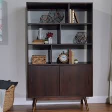 walnut brown wood randi mid century bookcase world market