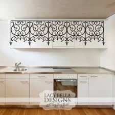 kitchen facelift ideas wrought iron wall graphic decal faux headboard or added flare to