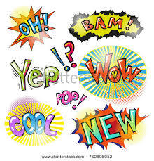 selection comic book exclamations action words stock vector