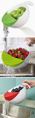 cool things for kitchen clip this silicone strainer right on the pot to drain without