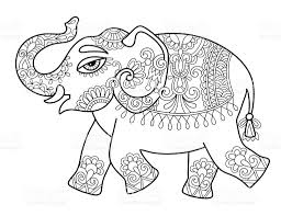 ethnic indian elephant line original drawing adults coloring bo