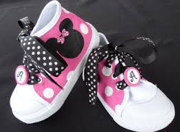 pink black hand painted minnie mouse baby kids shoes