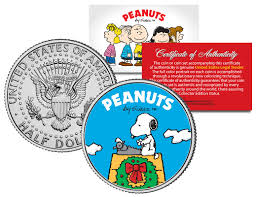 snoopy christmas dog house colorized coins and currency peanuts