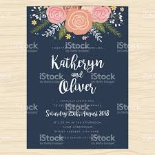 Invitation Card Wedding Invitation Card With Hand Drawn Wreath Flower Template