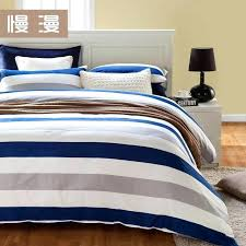 ticking stripe duvet cover with pillow navy and ivory bedding in