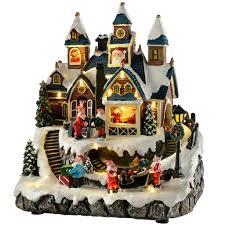 pre lit led musical animated christmas santa house scene with