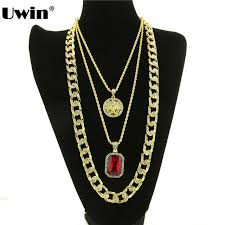 hip hop necklace images Hiphop pendant set gold color charm hip hop necklace red stone jpg