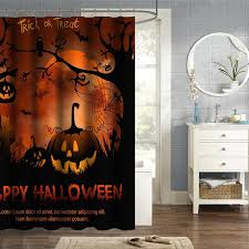 Halloween Bathroom Decor 150x180cm Happy Halloween Pumpkin Polyester Shower Curtain