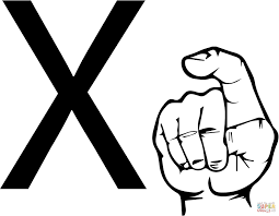 asl sign language letter x coloring page free printable coloring