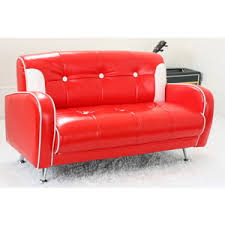 new red childrens toddler kids mini mustang sofa lounge double
