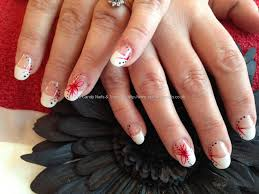 diy french mani with red flower nail art design youtube best