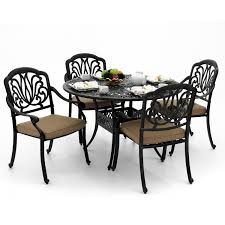 Patio Furniture Round Table by Rosedown 5 Piece Cast Aluminum Patio Dining Set With Round Table