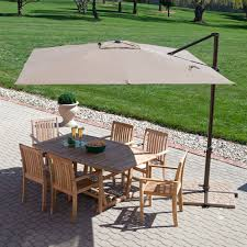 Outdoor Tablecloth With Hole For Umbrella by Patio Ideas Brown Teak Patio Furniture With White Cushion Ideas