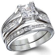 wedding ring bethany s sterling silver princess cut wedding ring set