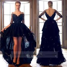 black lace hi lo formal evening prom dresses off shoulder