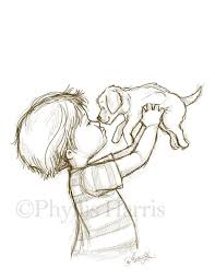 sketch illustration of a puppy and little boy or little you