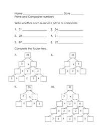 prime numbers and factors worksheet math practice prime and composite numbers and factor trees the