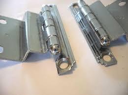 vtg 1950s chrome cabinet hinges stepped edge w lines 3 8 inset