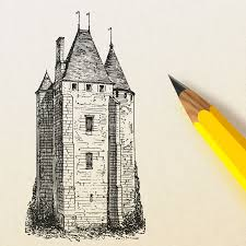 free stock photo of pencil drawing a castle vector clipart