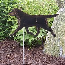 black labrador retriever outdoor garden sign painted figure