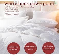 Duck Down Duvet Sale 50 White Duck Down Quilt Doona All Season Single Double Queen