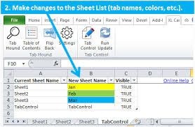 organize and automate you worksheets with the tab control add in