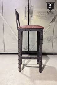 Industrial Metal Bar Stool Furniture Industrial Metal Bar Stools Wich Back And Leather Seat