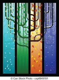 vector clip of seasonal tree banners four tree banners one