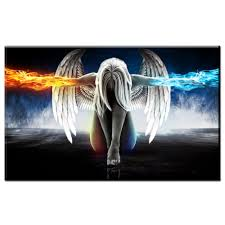 zz1932 hd canvas wall art angel wings painting beautiful anime