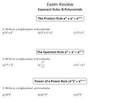 polynomial review worksheet inspire math mpm1d exam review 1