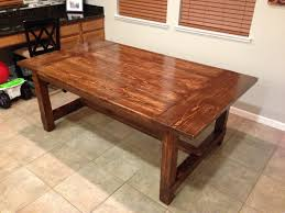 Farm Table Woodworking Plans by Grandiose Pine Wood Farmhouse Table With Brown Veneer Finished As