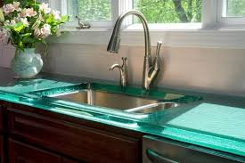Kitchen Countertop Material Appliances Green Glass Kitchen Countertops With Side Spray