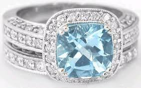aquamarine wedding rings cushion cut aquamarine and diamond halo engagement ring and
