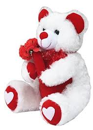 buy amardeep and co white teddy with roses 40cms ad1129