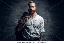 portrait bearded black tattooed arm stock photo 573886672