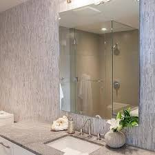Bathroom With Vertical Gray Subway Tiles Design Ideas - Vertical subway tile backsplash