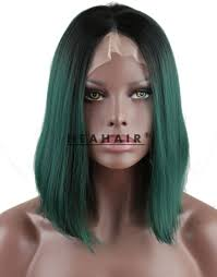 green halloween wig heahair fashion handtied short ombre green bob synthetic lace