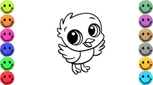 how to draw cute bird coloring pages for kids art colors for