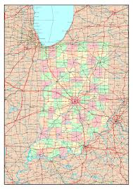 Detailed Map Of The United States Large Detailed Administrative Map Of Indiana State With Roads