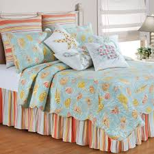 Beachy Comforters St Martin Coastal Seashell Quilt Bedding
