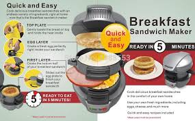 Breakfast Sandwich Toaster Super Breakfast Sandwich Maker Breakfast Sandwich Maker W Egg