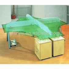 Steel Frame Desk 1 Modern Glass Office Clerk Table Desk U00264 Seats 3 Meters Long 2
