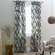 Navy Patterned Curtains Navy Patterned Curtains Drapes For Dining Room Scribble Window