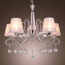 modern crystal chandeliers with 5 lights white ceiling light