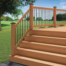 Home Depot Banisters Deckorail 6 Ft Pressure Treated Cedar Tone Aluminum Solid