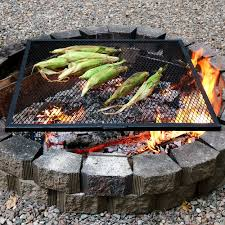sunnydaze x marks square fire pit cooking grill
