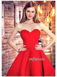 cocktail dresses sweetheart neck red short hi lo chic party
