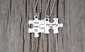 stainless steel puzzle necklace images 50 superb matching necklaces for couples couples necklaces jpg