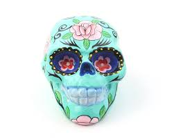turquoise sugar skull decor hand painted skull mexican sugar