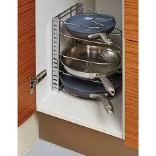 kitchen pan storage ideas chrome cookware organizer the container store